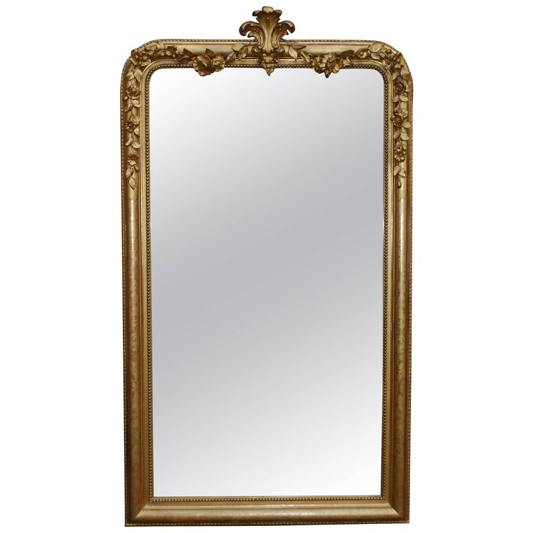 19th Century Large Antique French Louis Philippe Gold Leaf Mirror