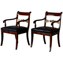 Pair of Mahogany Armchairs with Gilded Details, 19th Century, England