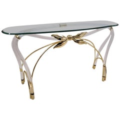 Jeff Messerschmidt Console Table, Lucite, Gold-Plated Gilt and Glass, 1970s, USA