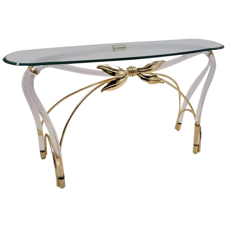 Jeff Messerschmidt Console Table, Lucite, Gold-Plated Gilt and Glass, 1970s, USA For Sale