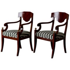 Armchairs Pair of Swedish Mahogany Brown Gilded Details Green and White Seat