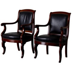 Armchairs French Empire Mahogany Brown Black Leather Upholstery France