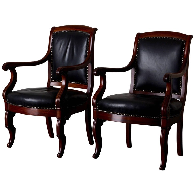 Armchairs French Empire Mahogany Brown Black Leather Upholstery France For Sale