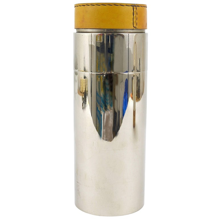 Carl Auböck Nickel-Plated Cocktail Shaker, Brass, Leather, Austria, 1950s