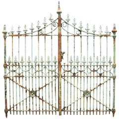 Pair of Antique English Wrought and Cast Iron Driveway Gates