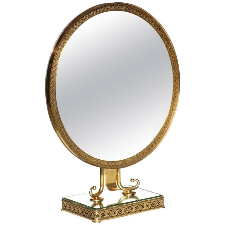 1950s Neoclassical Italian Midcentury Brass Italy Table Vanity Mirror