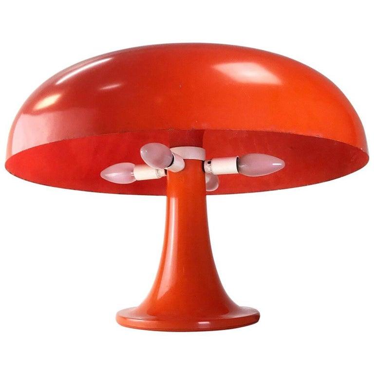 Original 1960s Giancarlo Mattioli Table Lamp in Orange Fiberglass by Artemide