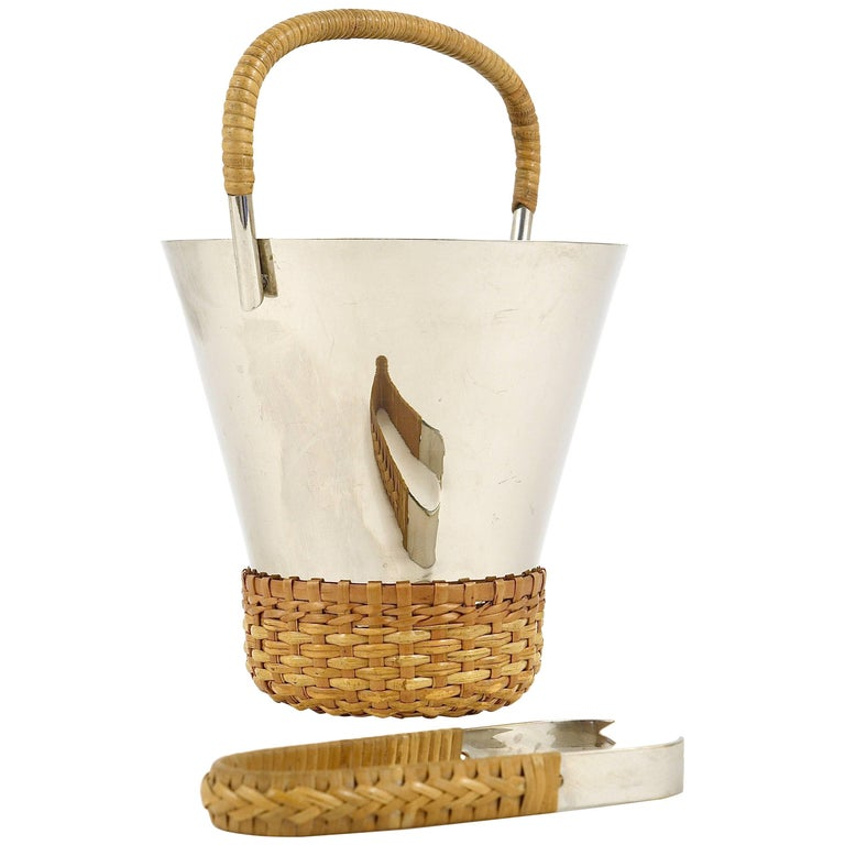 Carl Auböck Nickel-Plated Ice Bucket and Tongs, Brass, Austria, 1950s For Sale