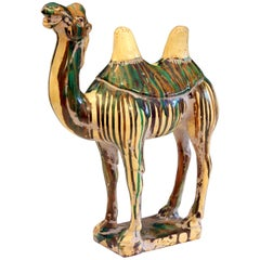Vintage Tang Style Folk Art Pottery Two Hump Camel Figure Sculpture, 1960s