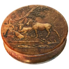 "18th Century Walnut Wooden and Tortoise Shell Snuffbox, Title ""Le Patre"""