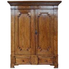 19th Century German Oak Two-Door Cabinet