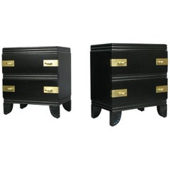 Pair of 1950s Lacquer and Brass Nightstands by John Stuart