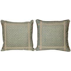 Pair of Fortuny Fabric Cushions in the Canastrelli Pattern