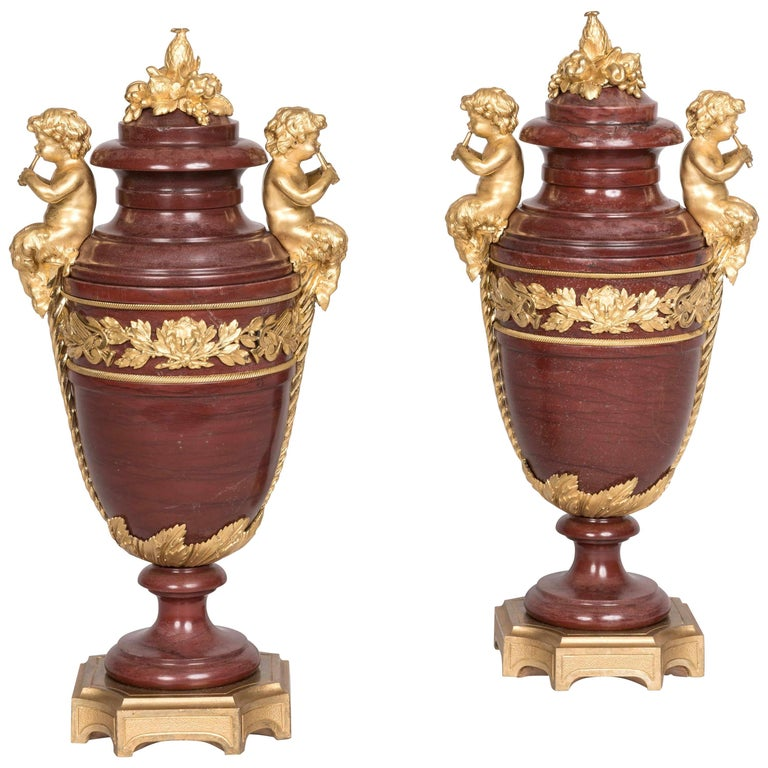 19th Century Pair of Louis XVI Marble and Ormolu Urns Attributed to Henry Dasson