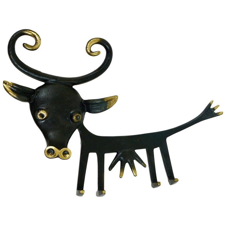 Walter Bosse Cow Sculpture Brass Key Hanger by Hertha Baller, Austria, 1950s