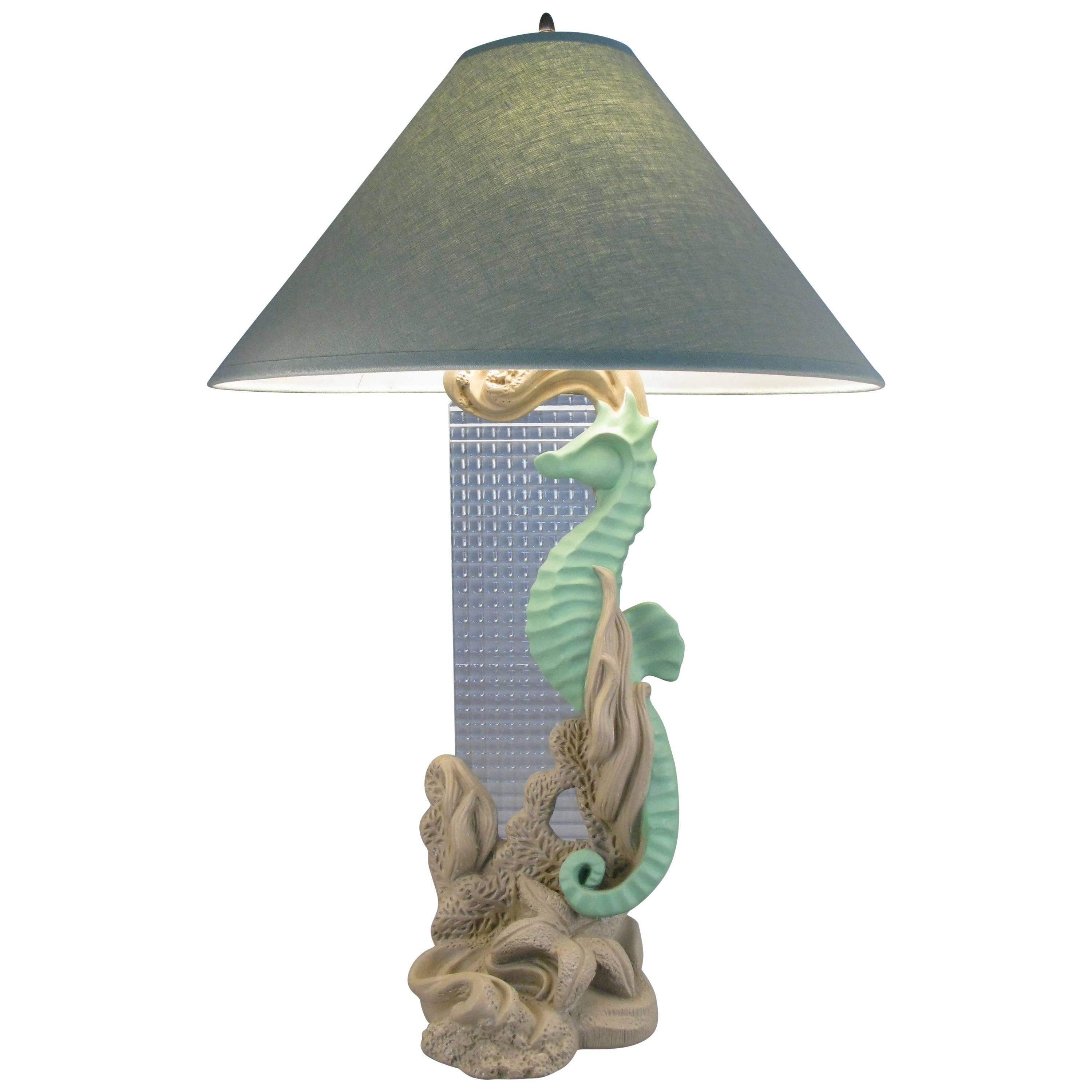 Vintage 1950s Plaster Seahorse And Starfish Lamp For Sale