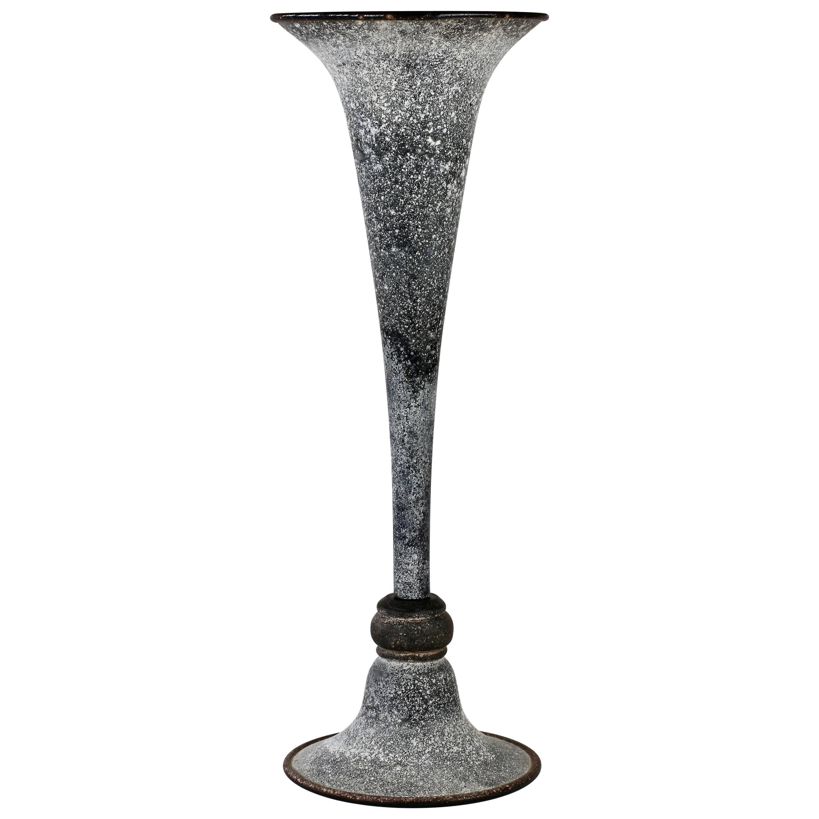 Monumental Black 'A Scavo' Murano Glass Vase Attributed to Seguso Vetri D'Arte
