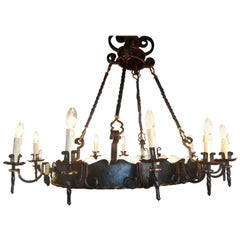 Large Oval Wrought Iron Castle Chandelier with 20 Lights