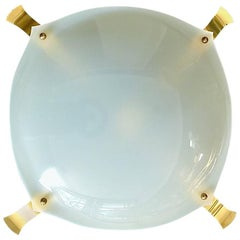 Huge Italian White Plastic Brass Flush Mount Angelo Lelli Arredoluce Attribution
