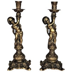Pair of Bronze Figural Candlesticks, Putti Candleholders