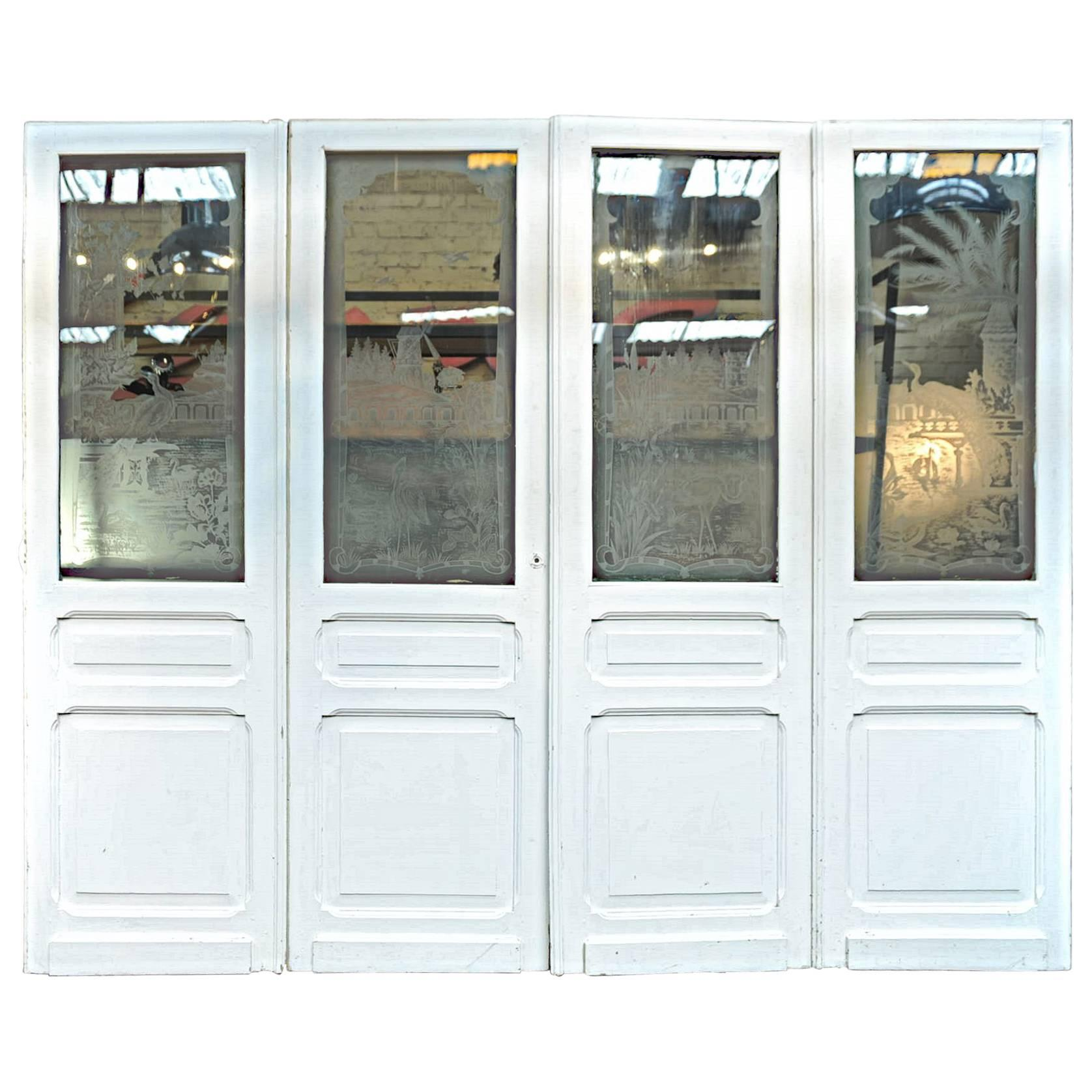 Merveilleux Set Of Four French Art Nouveau Craved Glass Inside Doors, Circa 1900 For  Sale