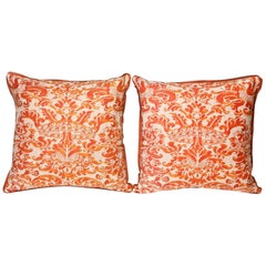 Pair of Fortuny Fabric Cushions in the Corone Pattern