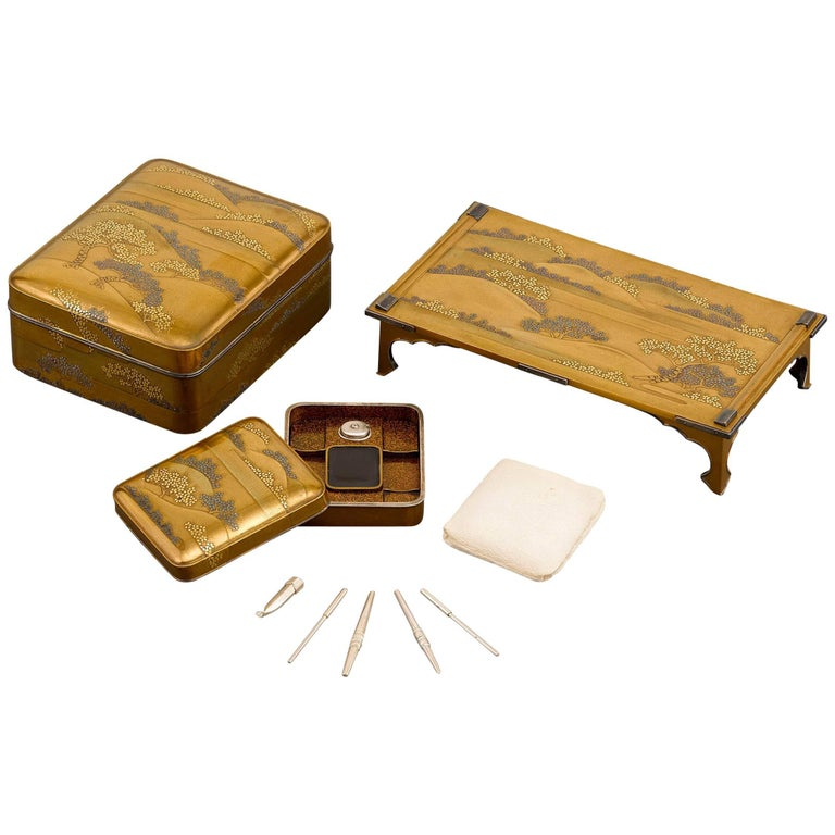 Japanese Meiji Lacquer Writing Set For Sale