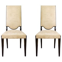 Pair of High Back Dining Chairs
