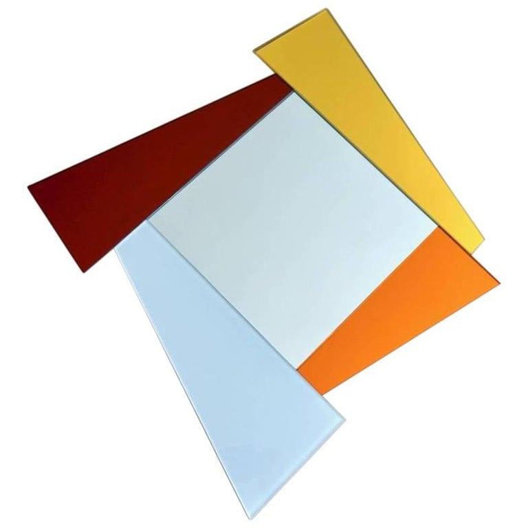 2007 Ettore Sottsass Geometric Mirror in White Red Orange Yellow for Glas Italia For Sale