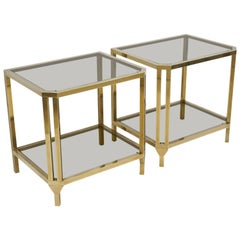 Pair of Hollywood Regency Style Brass and Smoked Glass Side Tables