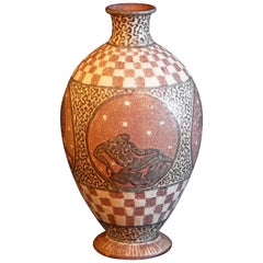"""Vase with Classical Nudes,"" Rare, Unique Vase with Male Nudes by Mayodon"