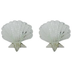 Pair of Murano Glass Shell Wall Sconces, Italy, 1960s
