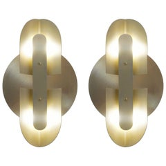 Fold Sconce 'Pair' in Satin Brass by Simon Johns