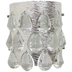 Single Wall Light Sconce with Crystal Glass by Palwa, Germany, 1960s
