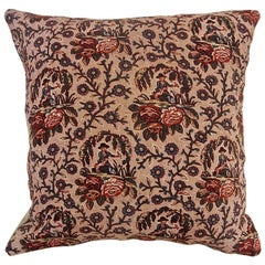 18th Century Antique French Figurative Toile Flowers Blockprinted Pillow