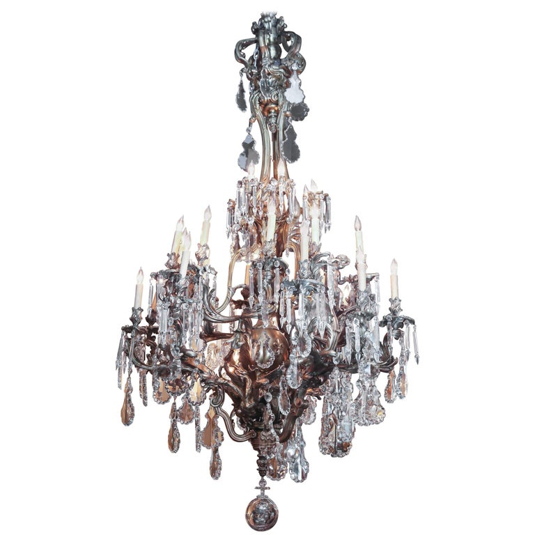 Monumental Antique Bronze and Crystal Chandelier with Twenty-Seven Lights