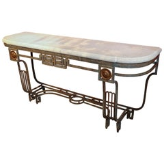 Art Deco Style Console, Iron Base with Lime Stone Top