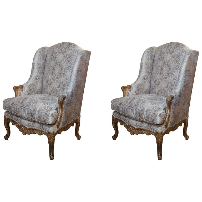 Pair of Tall Bergere French Chairs with Gilt and Carved Wood, Louis XV Style