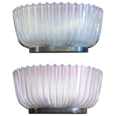 Pair of Italian Art Deco Frosted Glass Wall Sconces
