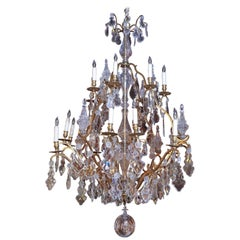 Very Large French Gilt Bronze and Crystal Twenty-Light Chandelier