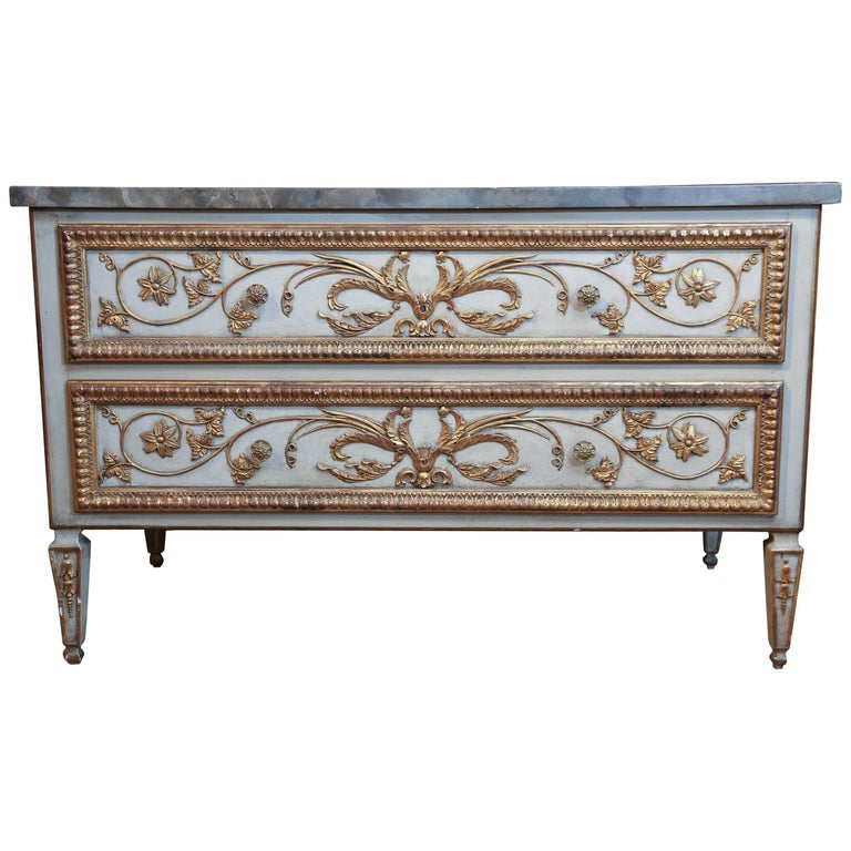 Louis XVI-Style Polychrome and Faux Marbre Commode, 19th Century