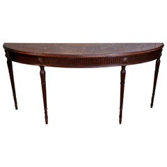 Mahogany Console Table in Demilune Shape