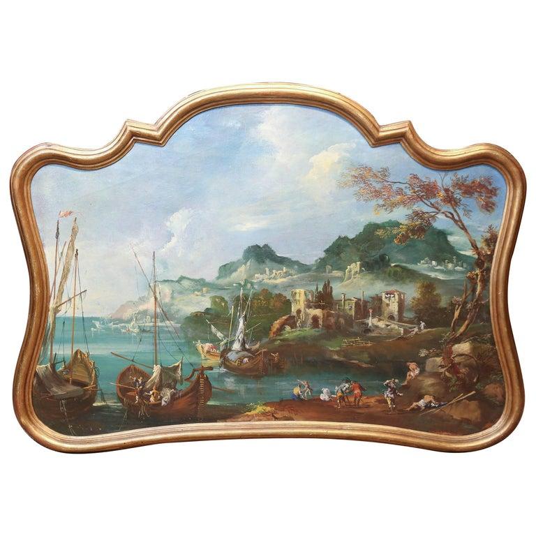 Italian 19th Century Trumeaux / Painting Depicting a Harbor Scene