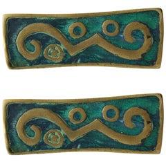 Pair of Modern Pepe Mendoza Rectangular Brass Turquoise Ceramic Drawer Handles