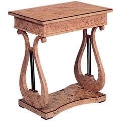 Swedish Biedermeier Birch End Table with Platform