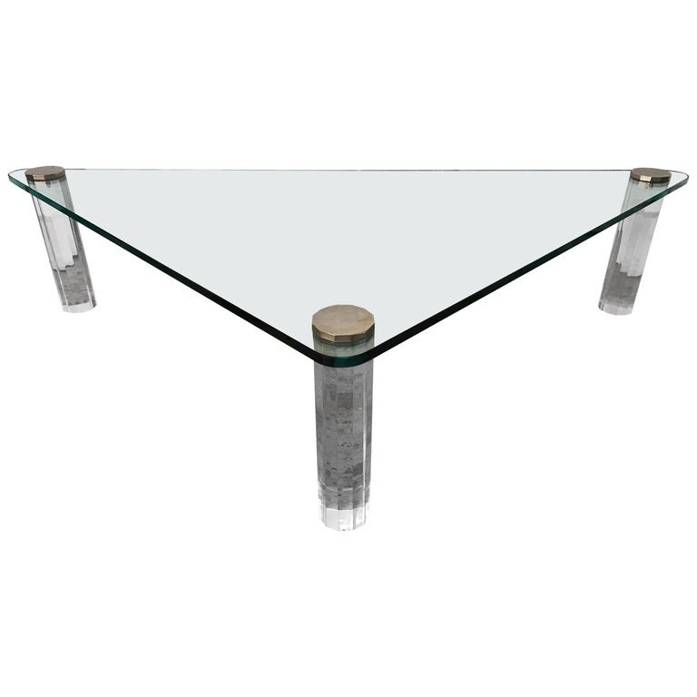 Triangular Glass and Lucite Coffee or Cocktail Table by Leon Rosen for Pace For Sale