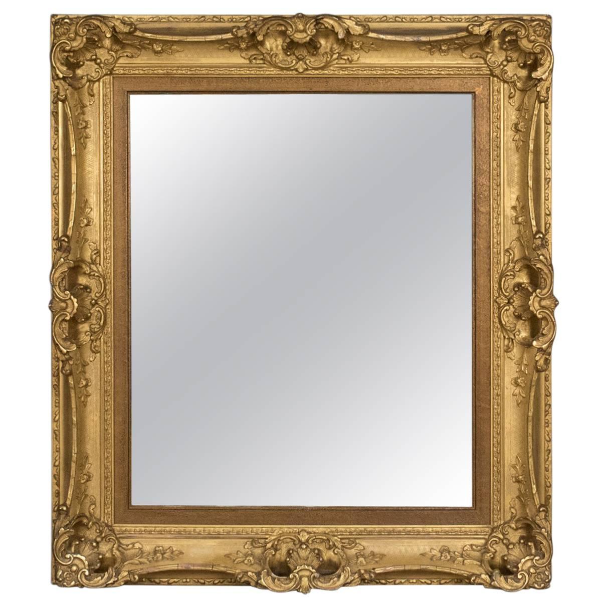 Early 19th Century Antique Gesso Gilt Overmantel Mirror Original Mercury Glass Mirrors