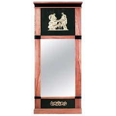 Swedish Biedermeier Maple and Black Lacquered Vertical Wall Mirror