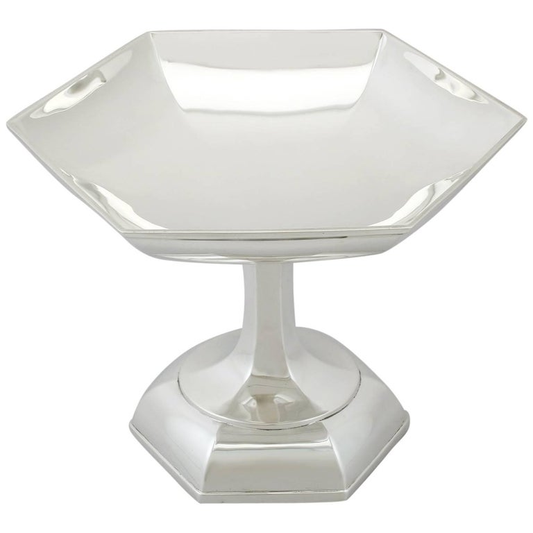 1910s Antique Art Deco Style Sterling Silver Tazza by Walker & Hall For Sale