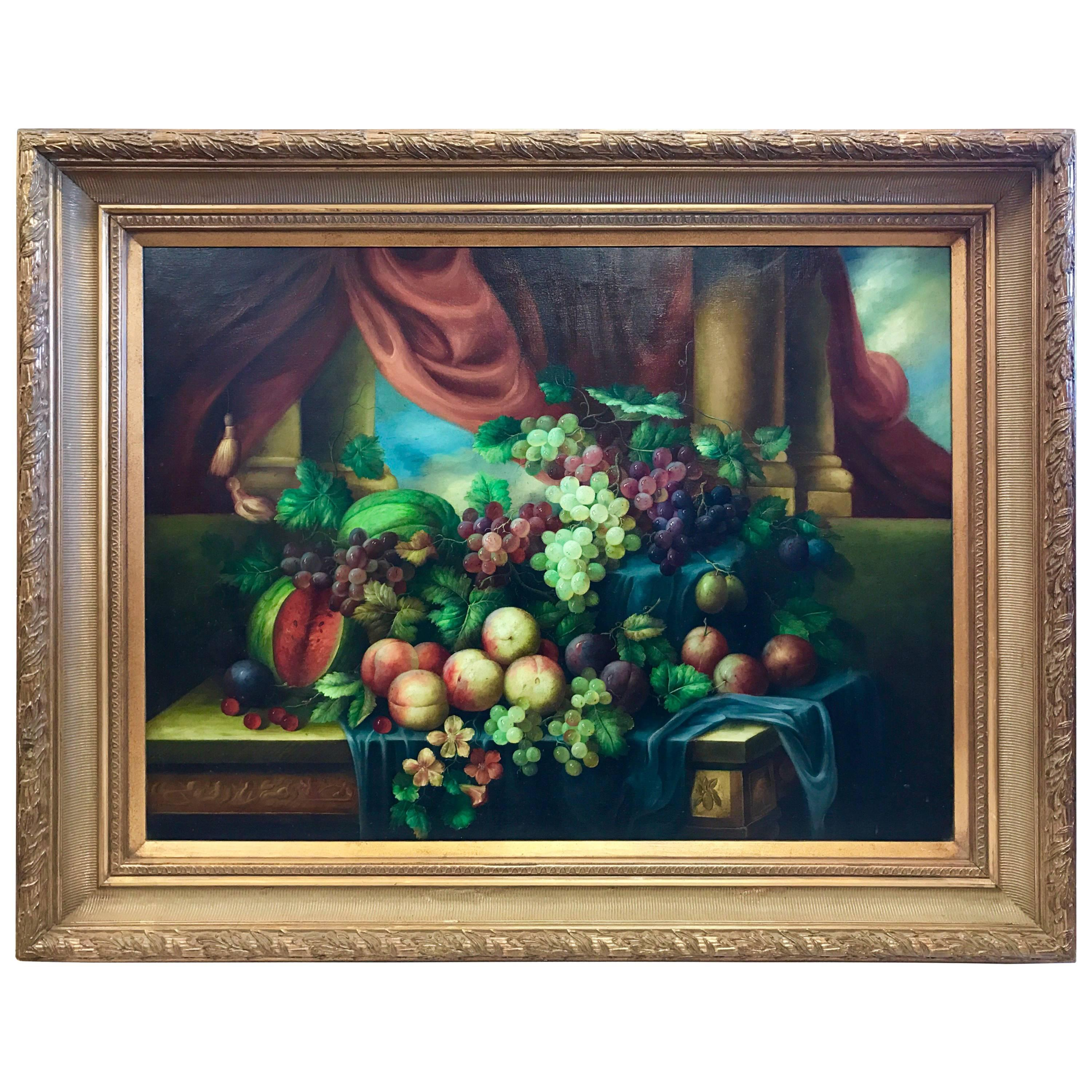 Large European School Classical Still Life Oil Painting of Bountiful Fruit